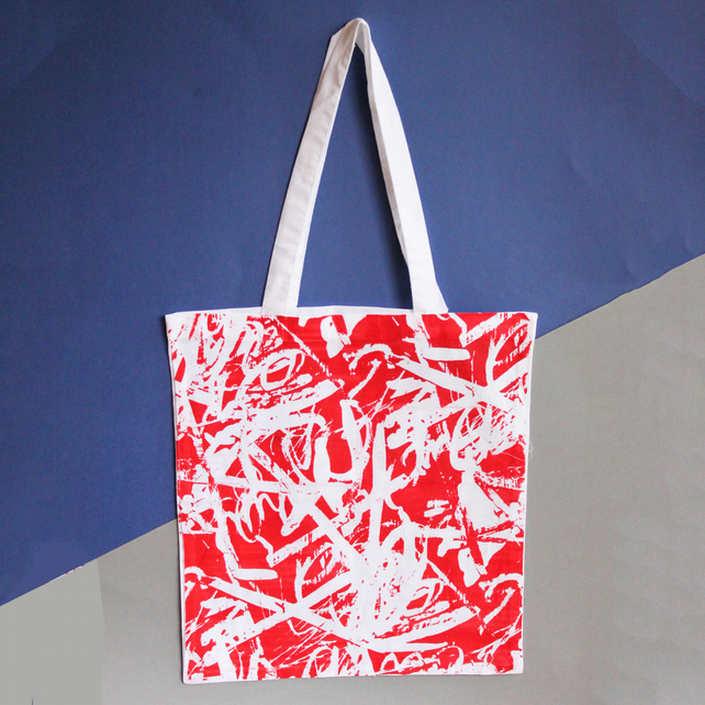 Textured graffiti inspired screen printed tote bag - limited edition