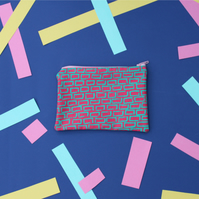 Geometric linear pink and green-  hand screen printed coin purse - small pouch