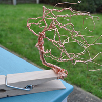 Giant wood clothes peg with Copper Bonsai wire tree on it sculpture