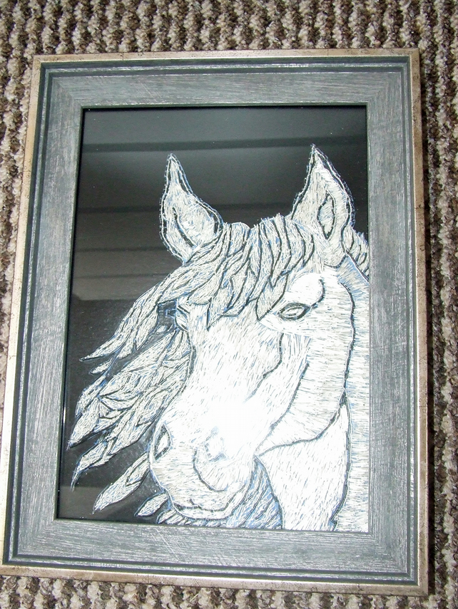 Pony made from silver plated wire and is in glazed picture frame