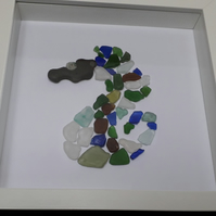 Sea glass picture of a Sea Horse made from Sea glass from the Jurrassic coast