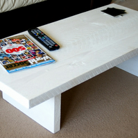 KRUD White Coffee Table 100(L) 45cm(D) Handmade Solid Wood 24 Colours