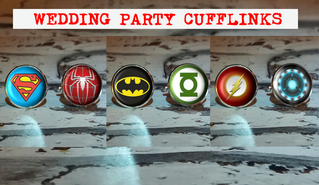 Wedding Party Superhero Cufflinks