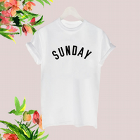 Sunday slogan tshirt weekend lazy day tee blogger t shirt Black White top