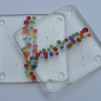 Rainbow coasters, Fused glass coaster, New home gift, House warming gift