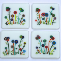 2 Flower coasters, Fused glass coasters, Millefiori coasters, Nature lover