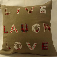 Inspirational 'Live Laugh Love' Scatter Cushion with free UK Delivery