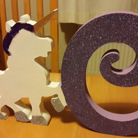 Unicorn and letter, unicorn letter,  kids letters, unicorn decor, unicorn gifts