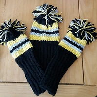 a hand knitted golf club cover 3 piece set driver, 3 wood 5 wood