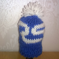 a hand knitted gear knob beanie hat for ford with RS logo design