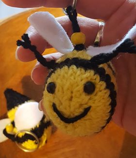 little knitted bee keyrings bag charms