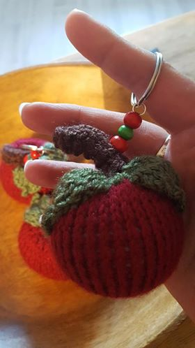 knitted red apple keyring bag charm