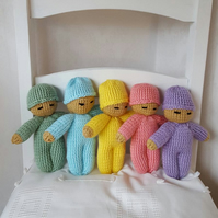 hand knitted my little love baby doll in fun colours