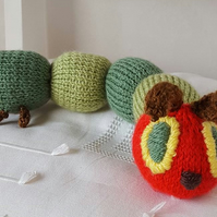 handmade knitted hungry caterpillar soft toy