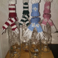 hand knitted wine and alcohol bottle hat and scarf set