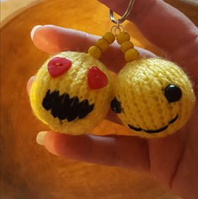 hand knitted double emoji key ring