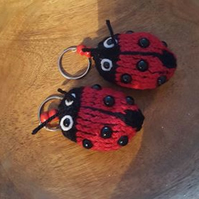 hand knitted little lady bug keyring