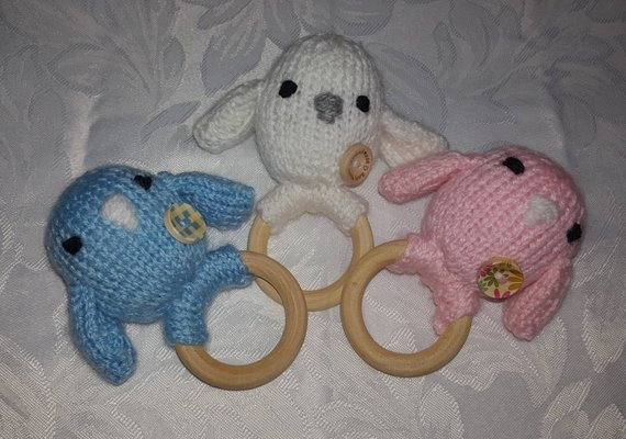 hand knitted little bird teething ring