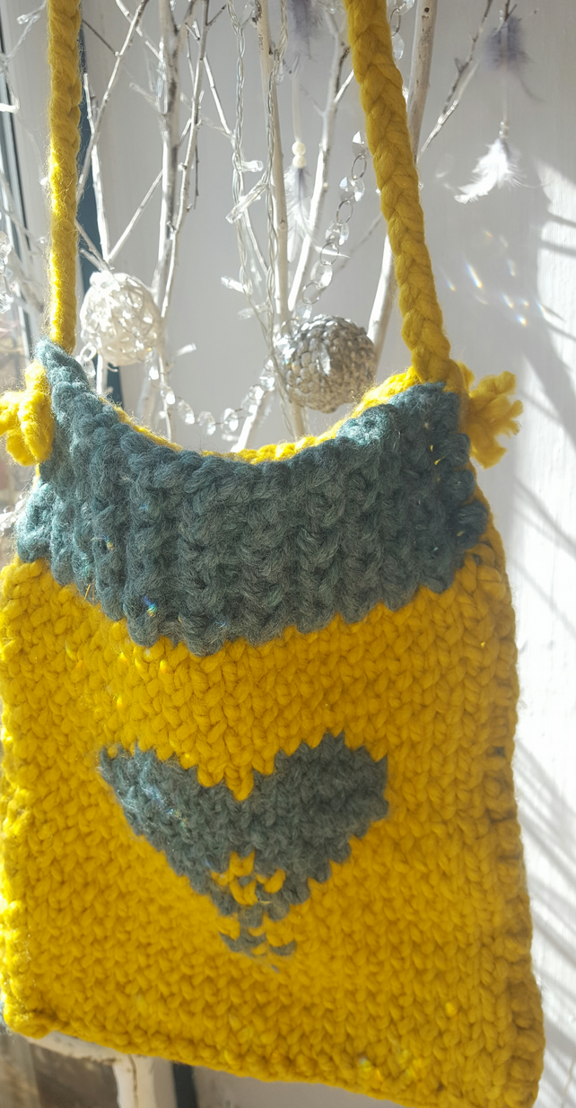Handmade chunky knitted boho shoulder bag only one unique colour and design