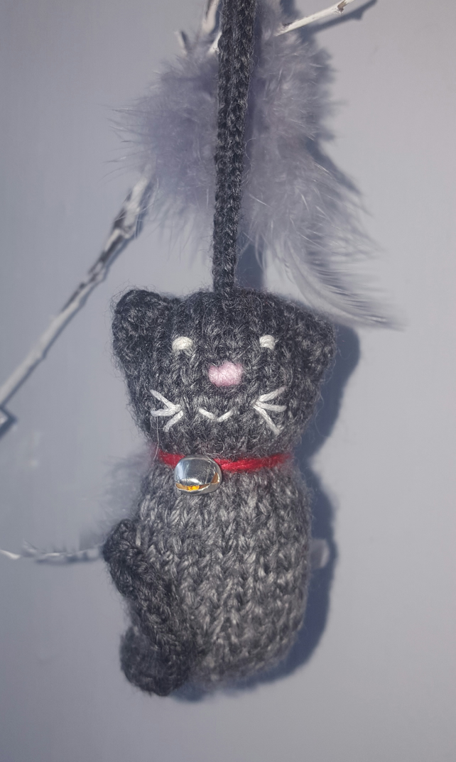 Handmade little knitted lavender filled hanging cats