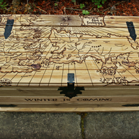 Game of Thrones Trunk Handmade Coffee Table Pyrography Wood Burning Westeros