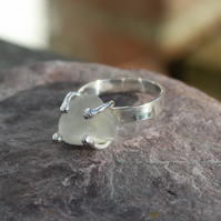 Sterling Siver Claw Set Sea Glass ring