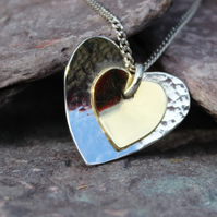 Sterling Silver and Brass Duall Heart Pendant