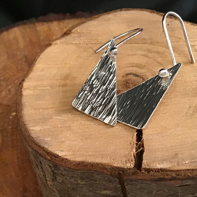 Sterling Silver triangle textured earrings