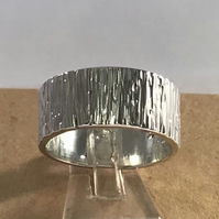 Tree Bark effect Hammered Sterling Silver ring