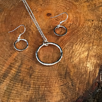 Sterling Silver Hammered Ring Earrings and Pendant set