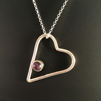 Sterling Silver and Amethyst Heart Pendant