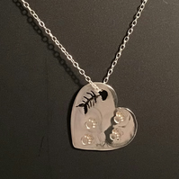 Cat Lover Sterling Silver Heart with paw prints