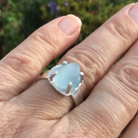 Sterling Silver, pale Blue,  Sea Glass ring Size Q