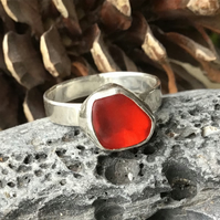 Handmade Sterling Silver and Red Sea Glass ring