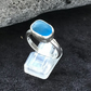 Handmade Sterling Silver Blue Sea Glass ring (size S)
