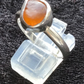 Handmade Sterling Orange Sea Glass Ring (Size T.5)