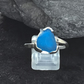 Handmade Sterling Silver Blue Sea Glass ring (size Q.5)