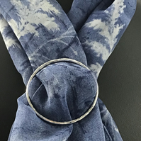 Sterling Silver handmade hammered Scarf or Sarong ring