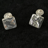 Handmade Reticulated Silver and Brass Cufflinks