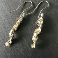 Handmade Silver Fold Formed Twist drop earrings