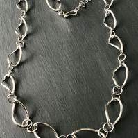 Handmade Twisted Loop Sterling Silver Chain Necklace 21-23""