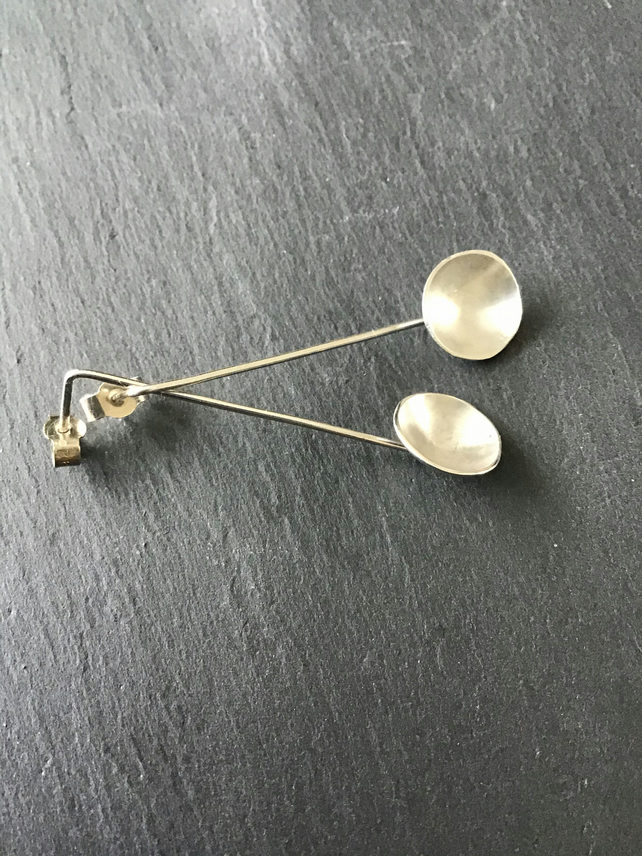 Sterling Silver Dome Cup drop earrings