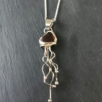 Sterling Silver and  Brown Seaglass, sea glass, Jellyfish