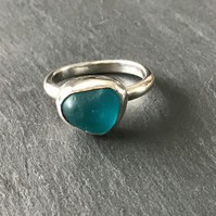Handmade bright blue Sea Glass and Sterling Silver ring (Size T)