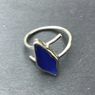 Colbalt Blue Cornish Sea Glass, seaglass, and Silver ring