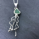 Sterling Silver and  Green Seaglass, sea glass, Jellyfish