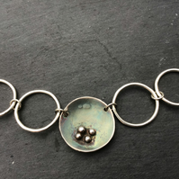 Handmade Sterling Silver domed cup and circles  necklace