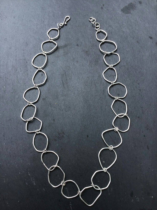 "Handmade Irregular Abstract Link Sterling Silver 22"" Necklace"