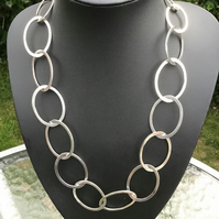 Handmade Sterling Silver Flat Link Necklace