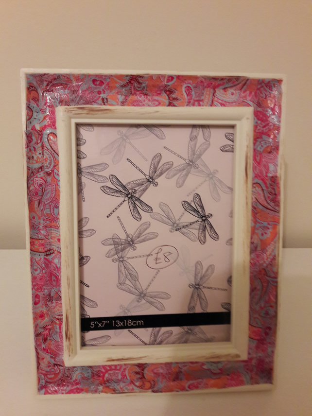 Pink decoupaged frame